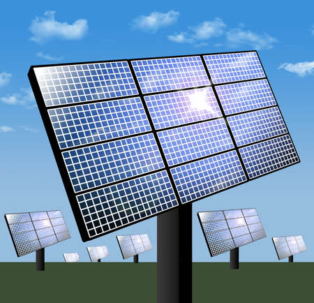 Here is a view of a solar farm with rows of solar panels soaking up solar energy on a sunny day with blue skies. 3D illustration.