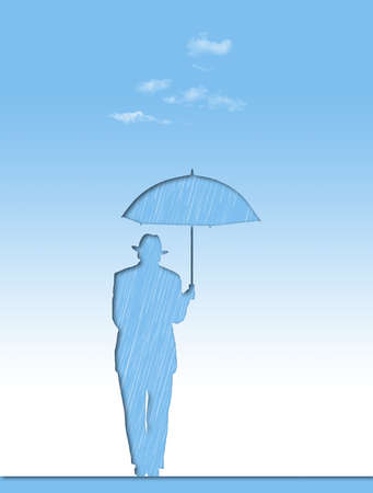 A pessimist, a man in a hat with an umbrella is seen here on a sunny day.