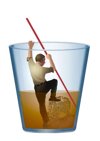 A man with a drinking problem is seen climbing out of a glass of liquor. 版權商用圖片