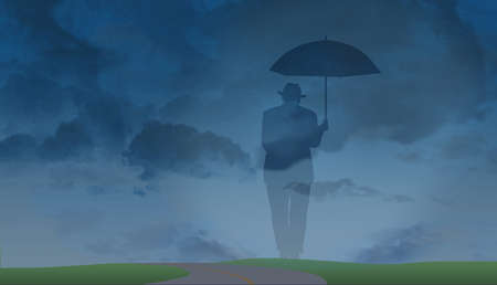 A ghostly silhouette of an older man in a fedora and suit with an umbrella is set against a stormy sky background. It is a metaphor for aging, lonliness, preparedness, isolation and more. 版權商用圖片