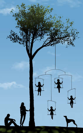 Parents make sure their four children get equal treatment as the kids ride on a swing under a tree in a park.