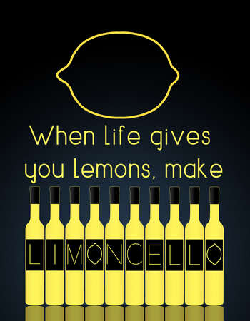 When life gives you lemons make limoncello. Limoncello is spelled out on the labels of limoncello bright yellow bottles.