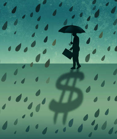 A businessman and stock investor protects his wealth shown as a dollar sign shadow during a stormy patch of weather in the financial markets.