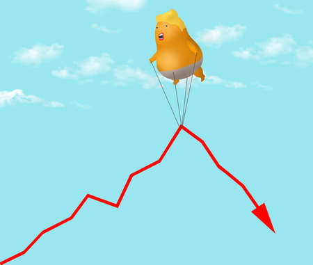 A blimp that looks like Donald Trump struggles to lift the graph of the stock market and keep it going up.