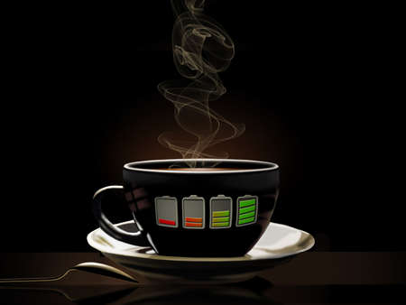 Re-charge with a cup of coffee. A battery indicator on the cup shows it is a fully charged cup of coffee and caffine.