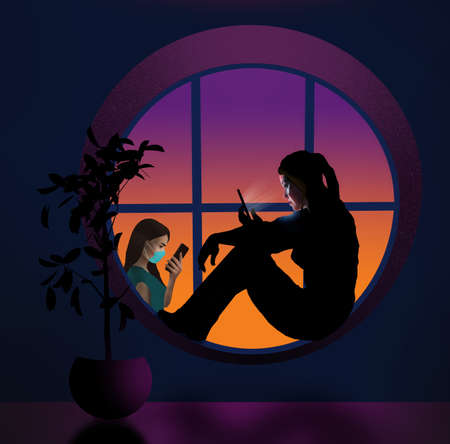 A young woman sits in a round window at home, isolating herself from Covid-19. She looks at her cell phone in this 3D illustration. A person is seen outside the window also on a cell.