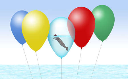 A sperm whale is seen inside a balloon along with other party balloons in an illustration about releasing helium balloons kills sea mammals.  3-D image.