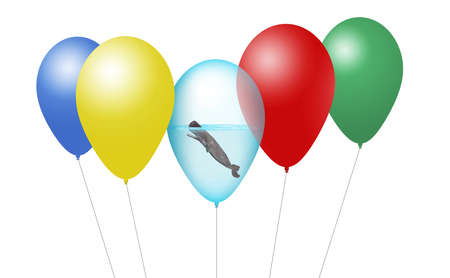 A sperm whale is seen inside a balloon along with other party balloons in an illustration about releasing helium balloons kills sea mammals. Isolated 3-D image.