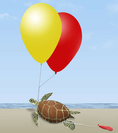 A green sea turtle on a beach by the ocean is seen tangled in helium party balloons probably released miles from the ocean. This is a 3-D illustration.