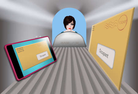 A woman peers into her mailbox to find junk mail in the mailbox and her cell phone with junk e-mail on the screen in a 3-D illustration.