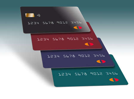 Here are generic credit cards stacked together in an interesting formation.