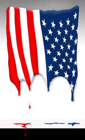 A USA flag appears to melt and drip in an illustration about the meltdown in America due to Covid-19 and other issues.