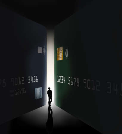 A silhouetted man is seen between two giant credit cards in an illustration about selecting the right card.