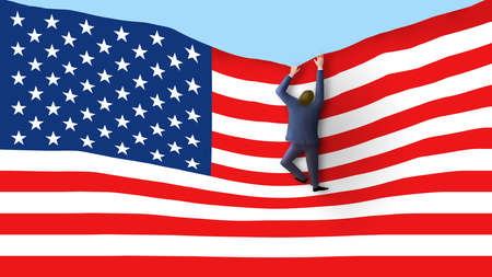 A man is seen climbing up the USA flag like a ladder in this 3-D illustration that is a metaphor for looking for success in America.