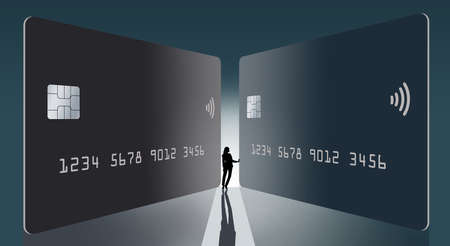 Two generic mock credit cards or debit cards are seen with a silhouetted backlit woman. The woman is a miniature next to the large cards. Copy space on the cards for your text. Illustration.