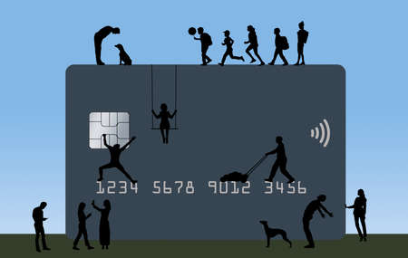 People from all walks of life are seen doing normal activities on a huge but versatile credit or debit card. Text area.