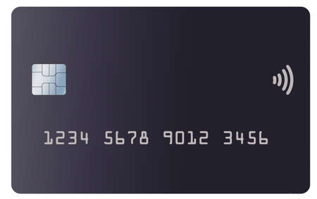 A generic mock credit or debit card is seen isolated on a white background.