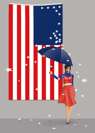 Stars fall from the blue field on a USA flag to symbolize the disruptions to states from covid-19, riots and more. A woman with an umbrella is showered by the falling stars.