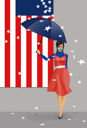 The disruption caused to states in the USA by cover-19 is illustrated with stars falling off of the U.S. flag. The stars falls on a woman with an umbrella and wearing a surgical mask for protection. Stok Fotoğraf