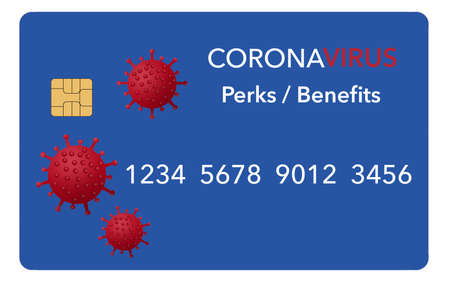 A credit card that includes perks and benefits to be used during the coronavirus pandemic is seen here isolated on white.