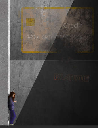 A girl looks at her phone in an urban setting with a faded credit card painted on the concrete wall. A past due sign is seen in this illustration about neglecting your credit card account.