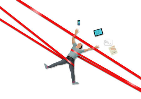 A man working on a project with his tablet, phone and paperwork is strapped down by red tape in this illustration about bureaucracy slowing things down.