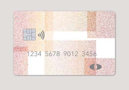 Here is a mock generic debit card with light blue slashing lines over a dark blue background  isolated on a grey background. Foto de archivo