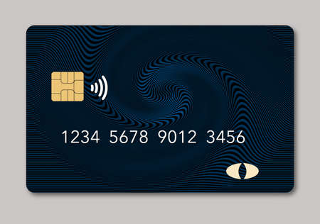 Here is a blank credit or debit card with room for your text. It is a dark blue color with a geometric design and is isolated on a white background. It includes. an EMV chip, generic logo, numbers and a NFC icon.