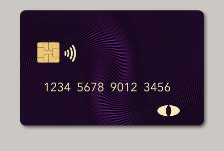 Here is a blank credit or debit card with room for your text. It is a mauve color with a geometric design and is isolated on a white background. It includes. an EMV chip, generic logo, numbers and a NFC icon.