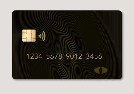 Here is a blank credit or debit card with room for your text. It is a green gold color with a geometric design and is isolated on a white background. It includes. an EMV chip, generic logo, numbers and a NFC icon.