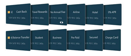 Twelve types of credit cards. All are blue with EMV chip and a tap to pay icon. Types: cash back, travel, no fee, airline, hotel, 0%APR, balance transfer, student, business, pre-paid, secured & charge Фото со стока