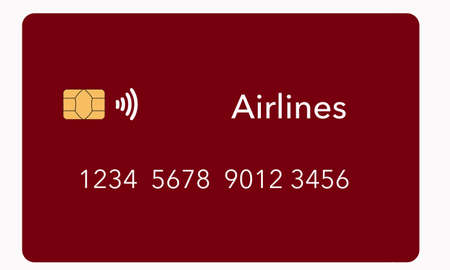 An airline credit card is seen isolated on a light background. It is a mock or generic card. It is one about a dozen different types of credit cards available.