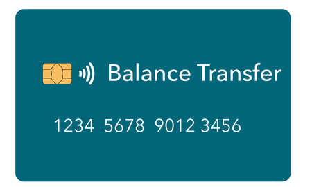 A balance transfer credit card is seen isolated on a light background. It is a mock or generic card. It is one about a dozen different types of credit cards available. Foto de archivo