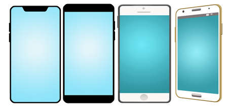 Graphic resoure image shows four cell phones with blank screens and isolated on a white background.