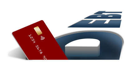 A credit card is seen inside the word DEBT in this illustration about credit card debt.