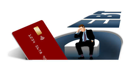 A credit card is seen inside the word DEBT in this illustration about credit card debt. A man is seen looking worried inside the pit.