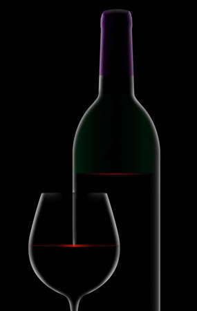 A dramatic rim light outlines a bottle and glass of red wine with light sparkling on the surface of the wine.