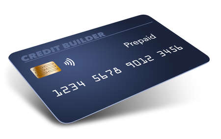 Here is a blue pre-paid credit building or credit repairing credit card. Is is a mock generic card isolated on a white background.