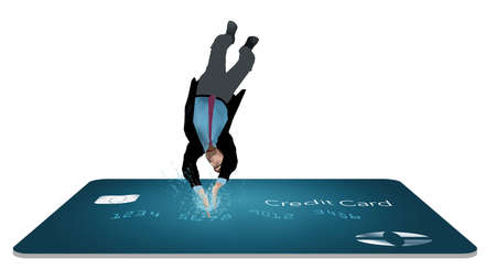 A man in a business suit dives head first into a blue credit card in a 3-D illustration about diving into credit card debt.
