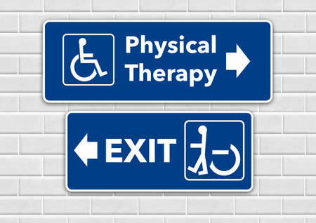 A wheelchair accessible sign points the way to physical therapy and pointing the other way toward the exit is a person standing in a wheelchair sign.