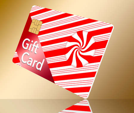 A Christmas holiday gift card that is generic is seen decorated with red and white candy stripes.