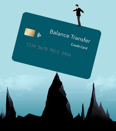 A man stands on top of a balance transfer credit card that is balanced on mountain peaks. Illustration is about credit card balances and transfers.