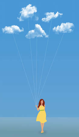 A woman in a yellow dress walks with white clouds on strings as it they are a bunch of balloons.