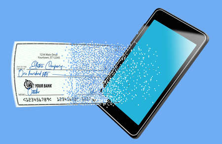 A check to pay a utiility bill is seen breaking into pixels as it moves electronically from a cell phone being used to make the payment.