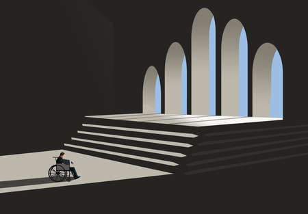 A man in a wheelchair faces an obstacles of stairs in a public building in this 3-D illustration. Stok Fotoğraf