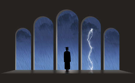 A college graduate in a cap and gown looks out of an arched doorway to find rain, storms and lightning waiting for her or him in the job market.