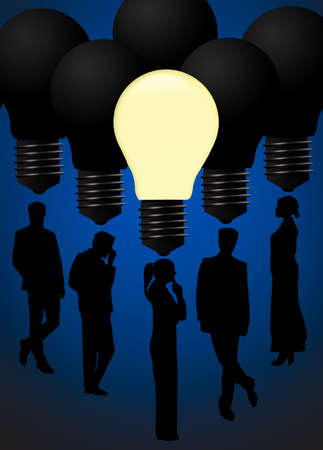 One light bulb is lit while others remain dark to illustrate people getting ideas. Stok Fotoğraf