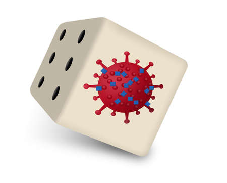 A coronavirus particle is seen on a dice cube illustrating the risk of contracting the virus.
