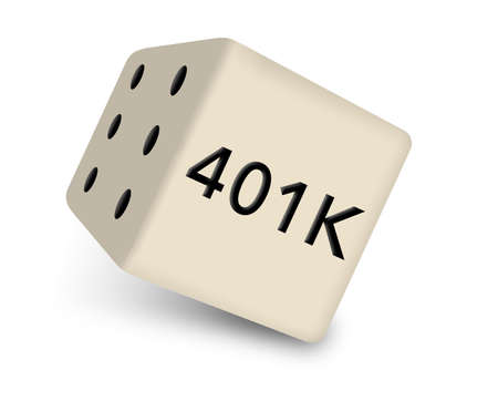 401K is seen on one face of a rolling die illustrating the chances one takes with their 401K decisions.