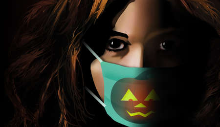 Halloween in 2020 includes medical masks like this Jack o lantern decorated surgical mask on a girl protecting herself and others from Covid-19.